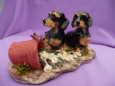 Eve Pearce Hand-Made Model - Dachshunds (Wire Haired) with Flower Pot * SALE *